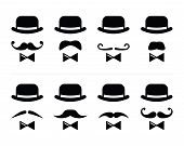 stock photo of bowler hat  - Vector icons set  - JPG