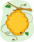 pic of beehive  - Board Illustration of a Beehive Surrounded by Bees - JPG