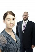 Young Brunette Woman And Beard Business Man Portrait