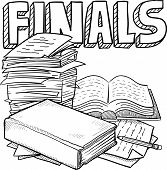 picture of scribes  - Doodle style final exams illustration in vector format - JPG