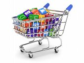 picture of telecommunications equipment  - 3d illustration of shopping cart with media boxes - JPG