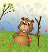 picture of buck teeth  - Illustration of a beaver holding a wood in the jungle - JPG