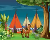 foto of tipi  - Illustration of a donkey in the woods - JPG