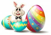 image of white rabbit  - Illustration of a rabbit inside a cracked easter egg on a white background - JPG