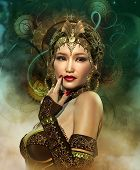 picture of headdress  - a portrait of a lady with a golden headdress - JPG