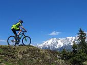 stock photo of biker  - Mountain biker riding through the mountains of the European Alps - JPG