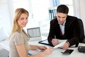 stock photo of status  - Woman meeting lawyer to set up her own business - JPG