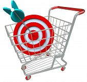 A shopping cart with a red target symbol and an arrow in the bullseye, illustrating a direct hit in