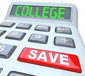 stock photo of subtraction  - Save for College is the message on this calculator displaying the words to encourage you to increase your savings to pay for your or your children - JPG
