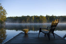 image of dock a lake  - Morning view of the bay from the dock at Weslemkoon lake - JPG