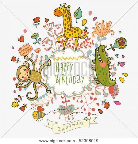 Cute childish card with crocodile monkey and giraffe in vector cute childish card with crocodile monkey and giraffe in vector happy birthday invitation backgroun stopboris Images