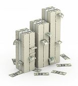 stock photo of million-dollar  - Three columns of dollars money batch - JPG