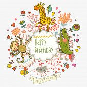 Cute childish card with Crocodile, Monkey and Giraffe in vector. Happy birthday invitation backgroun