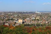 Montreal Quebec With Olympic Stadium At Autumn