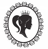 stock photo of cameos  - Profile silhouette of a princess in a frame on a white background - JPG