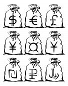stock photo of shekel  - Set of pictogram money bags with currency signs - JPG