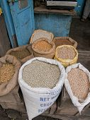 foto of darjeeling  - Stand with different ingredients in sacks in Darjeeling India - JPG