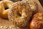 stock photo of crust  - Healthy Organic Whole Grain Bagel for Breakfast - JPG