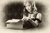 picture of old vintage typewriter  - retro portrait - JPG