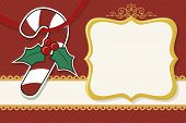 image of candy cane border  - christmas background with candy cane and blank frame - JPG