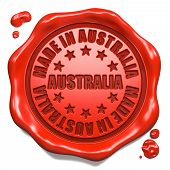 Made in Australia - Stamp on Red Wax Seal.