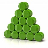 picture of cylinder pyramid  - Illustration of pyramid made from green cylinders - JPG