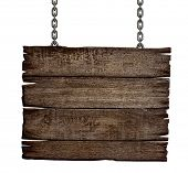 picture of sign board  - old wood sign board on chain - JPG