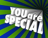 You Are Special Words 3d Background Unique Rare Exceptional