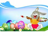 foto of duck egg blue  - Happy Rabbit and Easter Eggs - JPG