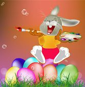stock photo of duck egg blue  - Happy Rabbit and Easter Egg - JPG