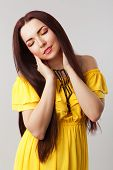 Beautiful Romantic Girl in Yellow Dress