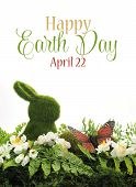 picture of fern  - Happy Earth Day April 22 scene with green moss bunny rabbit butterfly ferns and spring blossoms with sample text or copy space for your text here - JPG