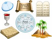 stock photo of seder  - Vector illustration of objects related to the Jewish holiday Passover - JPG