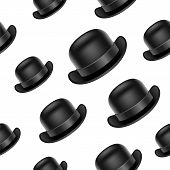 pic of bowler  - Seamless background design with bowler hat for your designs - JPG