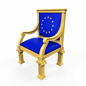 stock photo of throne  - Throne Chair of European Union isolated on white background - JPG