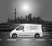 stock photo of moving van  - White delivery Van is moving through a river at early morning - JPG