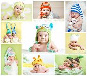 stock photo of baby twins  - set of funny babies or children weared in hats - JPG