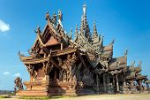 The wooden sanctuary of truth, buddhist, chinese, and hindu temple in Pattaya, Thailand