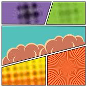 picture of sketch book  - Comics pop art style blank layout template with clouds beams and dots pattern background vector illustration - JPG