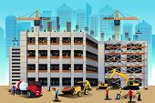 stock photo of construction machine  - A vector illustration of building construction scene - JPG