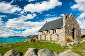 picture of shepherd  - Old Church of the Good Shepherd at lake Tekapo - JPG