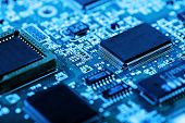 image of transistors  - abstract close up mother board background - JPG