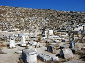 pic of phallus  - Architecture and details of historic city Delos near Mykonos Greece - JPG