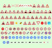 foto of truck-stop  - set of traffic signs for drivers different shape and size - JPG