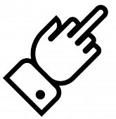 stock photo of obscene gesture  - Vector outline icon of hand showing middle finger gesture - JPG