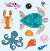 pic of turtle shell  - Vector set which represent various sea animals - JPG