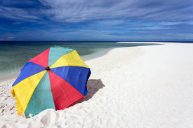 picture of camiguin  - Colorful sunshade on pure tropical white beach - JPG