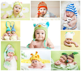 picture of nipples  - set of funny babies or children weared in hats - JPG