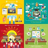pic of online education  - Set icons for education online education professional education in flat design style - JPG