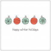 stock photo of adornment  - Winter holidays greeting card with Christmas balls in doodle style - JPG
